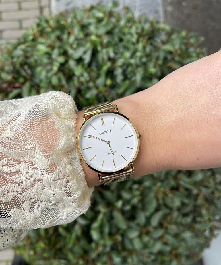Oozoo Timepieces Oozoo C9909 - Goud Meshband