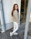 Broek PU Leather met Strik - Off White