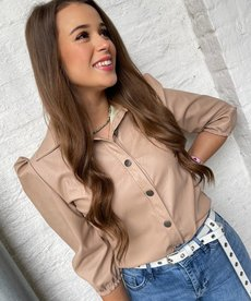 Blouse PU Leather - Beige