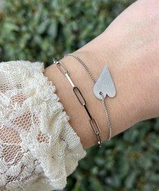 Zag Bijoux Armband Zilver Schakels Hart