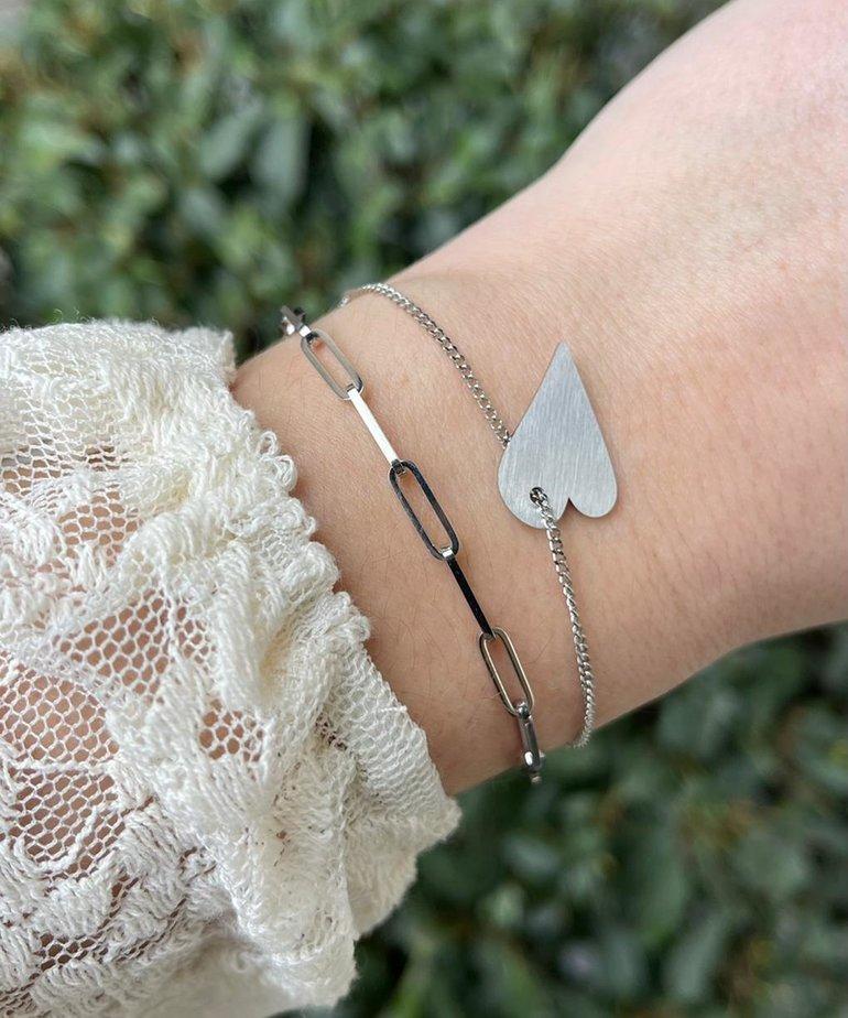 Zag Bijoux Zag Bijoux Armband Zilver Schakels Hart