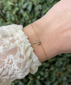 Zag Bijoux Armband Goud Kruisje met Diamantjes