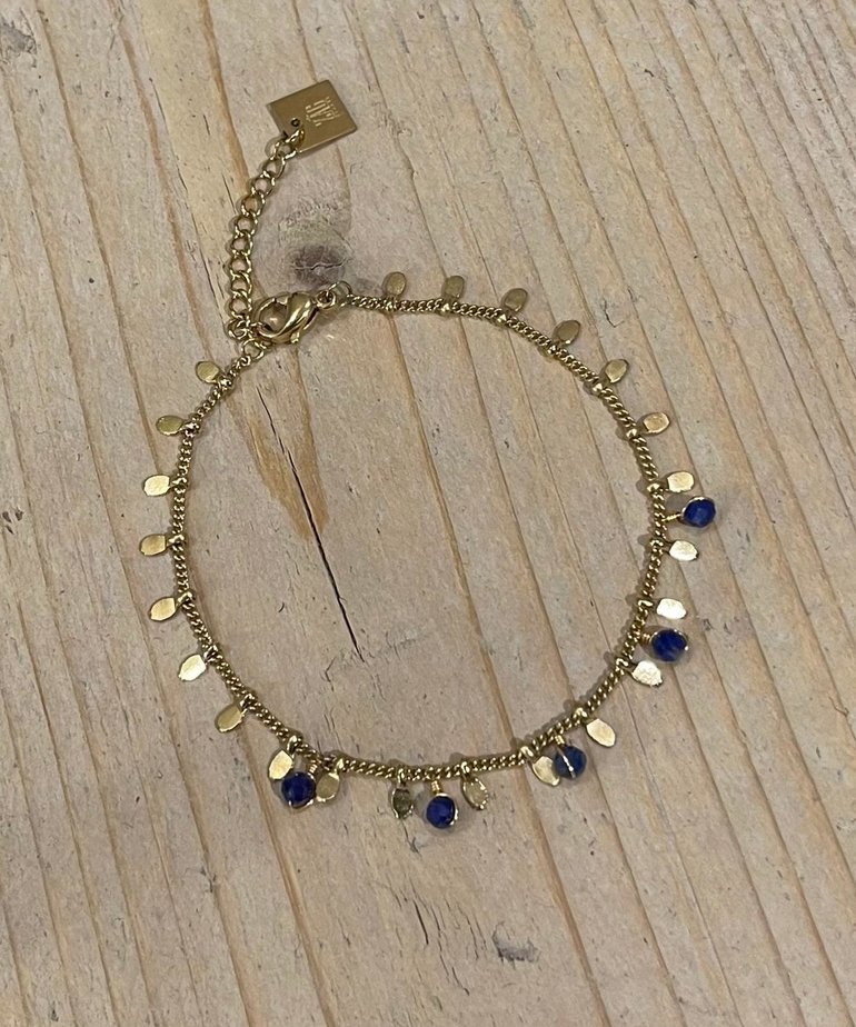 Zag Bijoux Zag Bijoux Armband Goud met kleine blauwe steentjes
