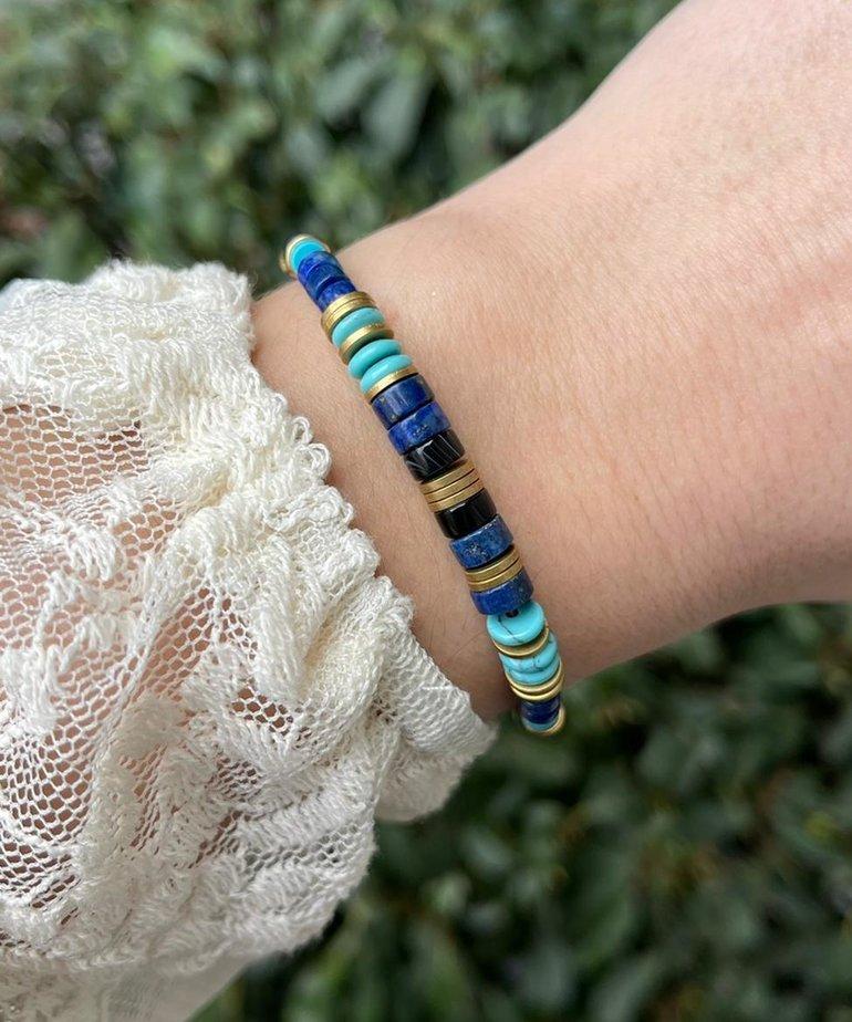Zag Bijoux Zag Bijoux Armband Goud Blauwe Kralen