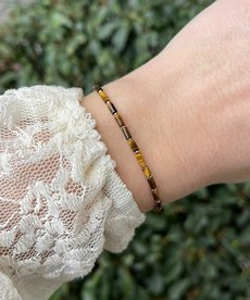 Zag Bijoux Armband Goud Bruine Kraaltjes