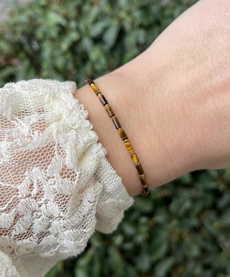 Zag Bijoux Zag Bijoux Armband Goud Bruine Kraaltjes
