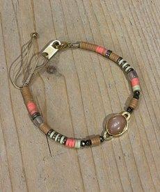 Zag Bijoux Armband Goud/Roze Kralen