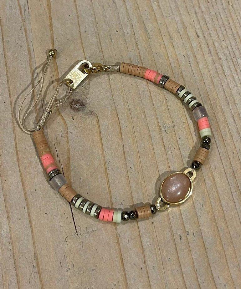 Zag Bijoux Zag Bijoux Armband Goud/Roze Kralen