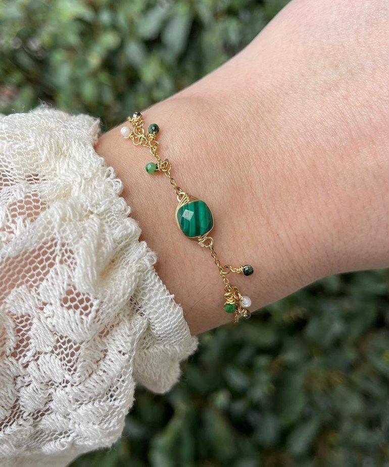 Zag Bijoux Zag Bijoux Armband Goud/Groen Parels