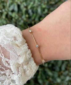 Zag Bijoux Armband Goud Slaven met Steentjes
