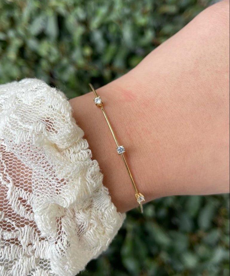 Zag Bijoux Zag Bijoux Armband Goud Slaven met Steentjes