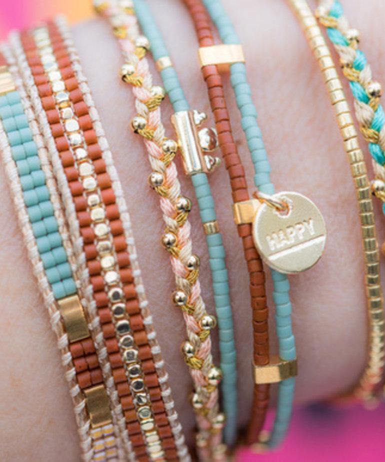 Meet Coco Meet Coco Bo Light Blue Gold Armband