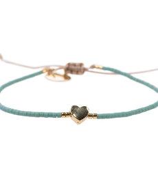 Meet Coco Heart Light Blue Gold Armband