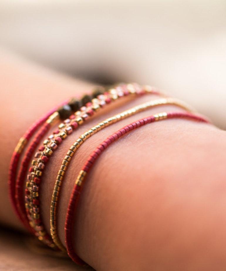Meet Coco Meet Coco Liev Fuchsia Gold Armband