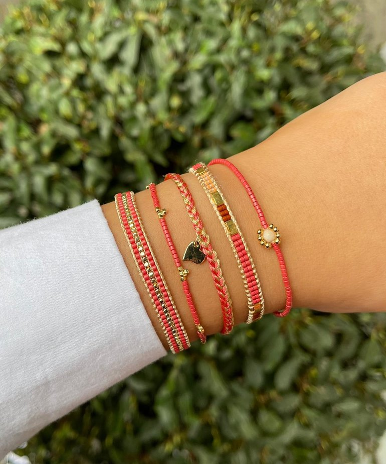 Meet Coco Meet Coco Lizzy Fuchsia Gold Armband