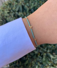 Meet Coco Lizzy Light Blue Gold Armband