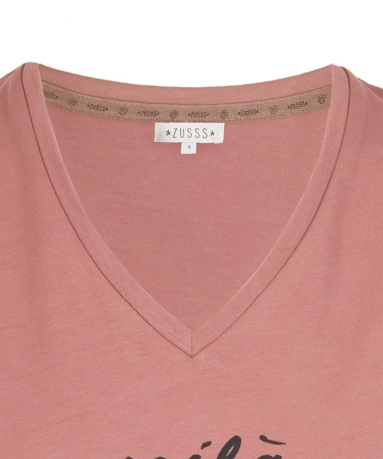 Zusss Zusss Basic t-shirt met V-hals Voilà - rouge