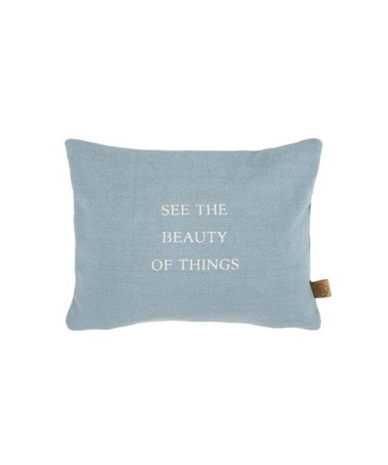 Zusss Zusss Kussen 'Beauty of Things' - Grijs Blauw