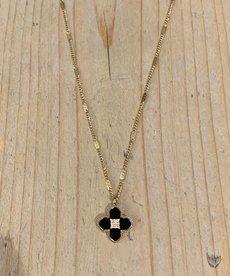 Zag Bijoux Ketting Goud met Zwarte Bloem