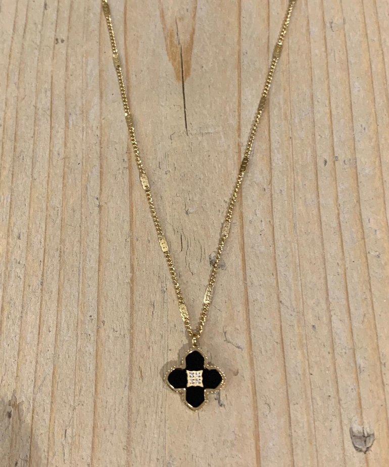 Zag Bijoux Zag Bijoux, Ketting Goud met Zwarte Bloem