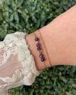 Zag Bijoux Zag Bijoux, Armband Goud Paarse Steentjes