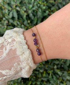 Zag Bijoux Armband Goud Paarse Steentjes