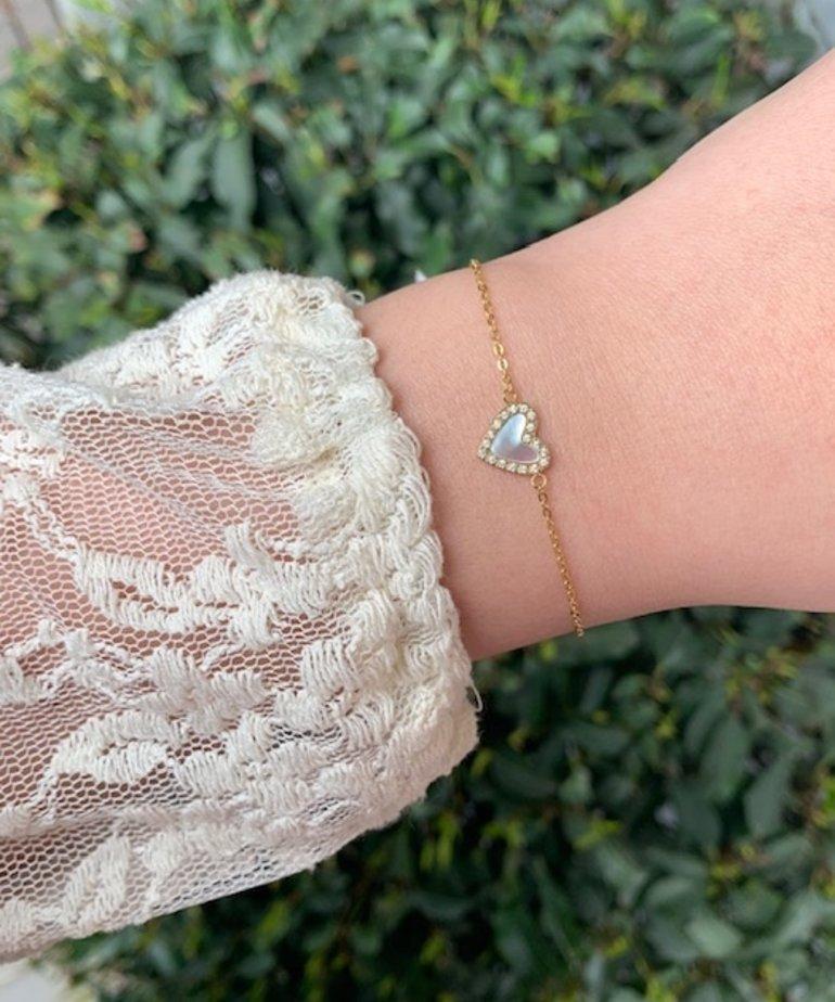 Zag Bijoux Zag Bijoux, Armband Goud Pearl Hart