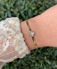Zag Bijoux Armband Goud Pearl Bloem