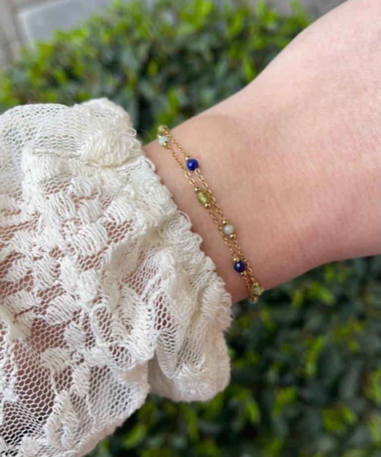 Zag Bijoux Zag Bijoux, Armband Goud Groen en Blauwe Steentjes