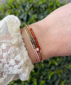 Zag Bijoux Armband Goud Lila Rood Dubbel