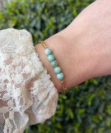 Zag Bijoux Armband Goud Schakels Blauwe Steentjes