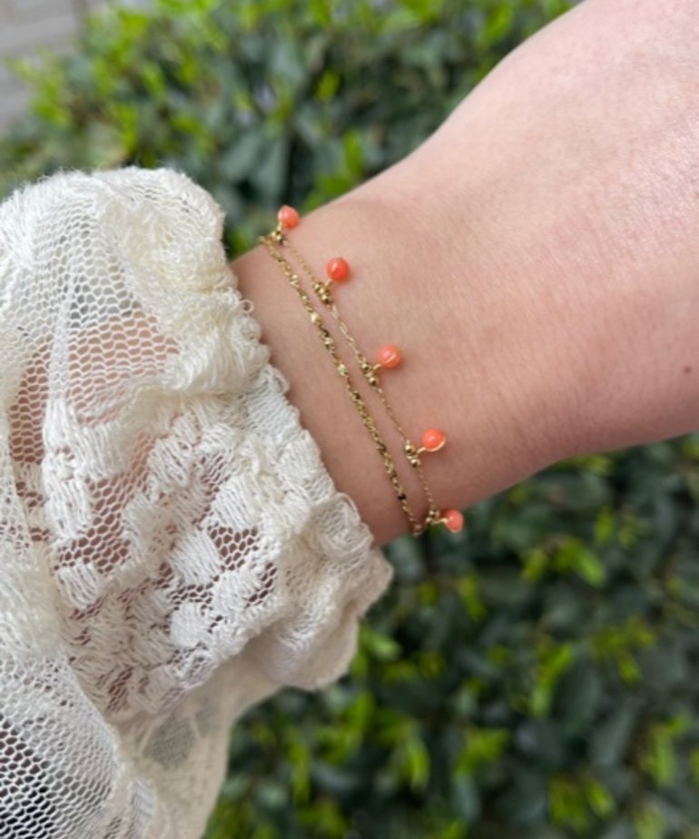 Zag Bijoux Zag Bijoux, Armband Goud Oranje Steentjes