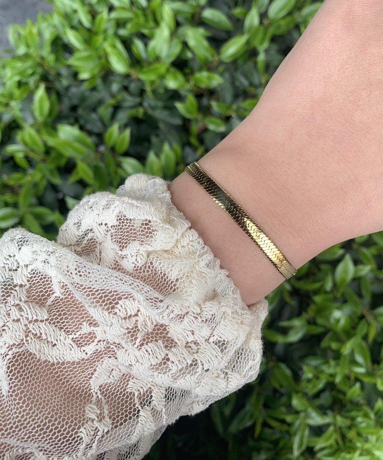 Zag Bijoux Zag Bijoux Armband Goud - Snake Schakel