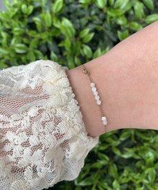 Zag Bijoux Armband Goud - White Beads