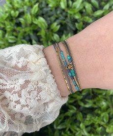 Zag Bijoux Armband Goud - Turquoise Dubble