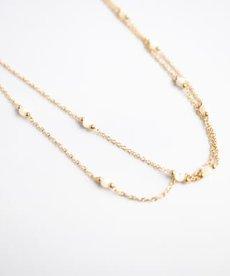 Zag Bijoux Ketting Goud - White Beads Dubble