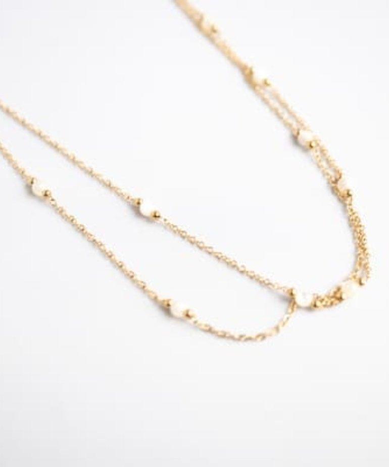 Zag Bijoux Zag Bijoux Ketting Goud - White Beads Dubble