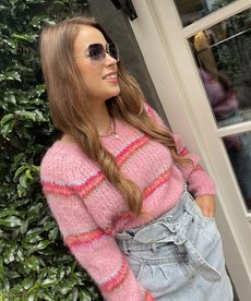 Black Colour Toni Brushed Knit Sweater - Candy Pink