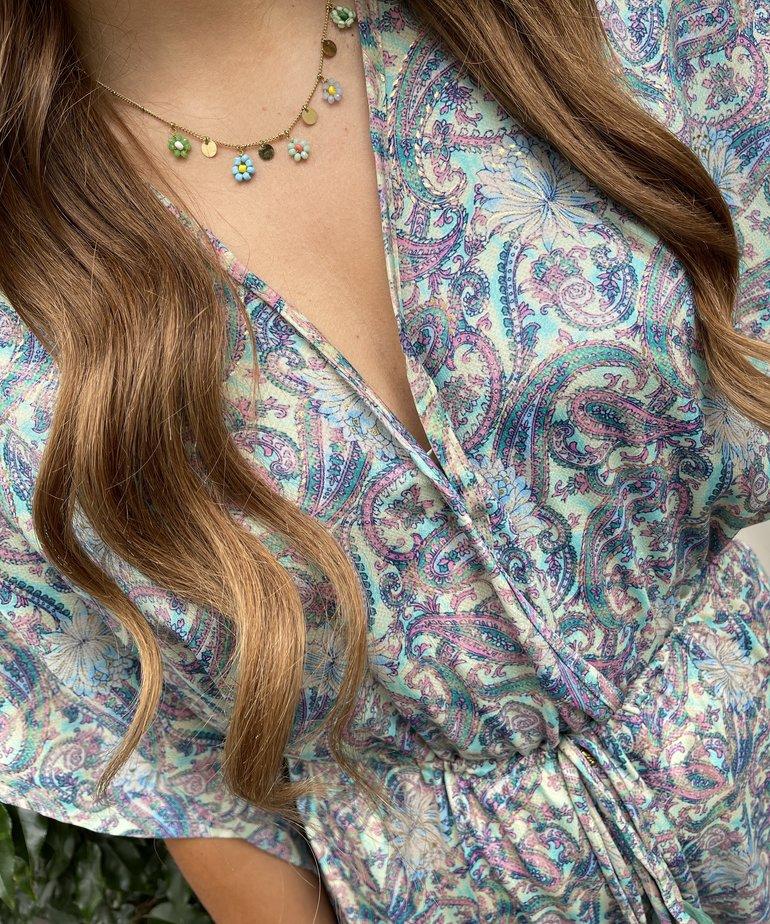 Black Colour Black Colour Luna Long V-Neck Dress - Pastel Mint