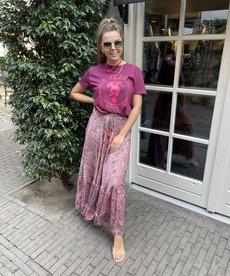 Black Colour Luna Maxi Frill Skirt - Pink Paisley