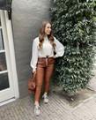 PU Leather met Strik - Brown