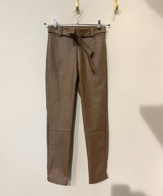 Broek PU Leather met Strik - Chocolate Brown