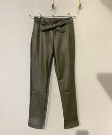 Broek PU Leather met Strik - Dark Green