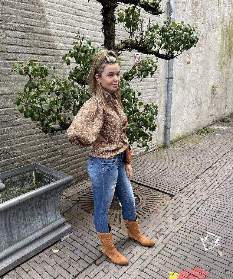 Ydence Ydence Blouse Dagmar - Brown Flower