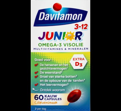 Davitamon Junior 3+ Omega-3 Visolie Kauwcapsules Citroen