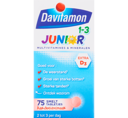 Davitamon Junior 1-3 Smelttabletjes Aardbei