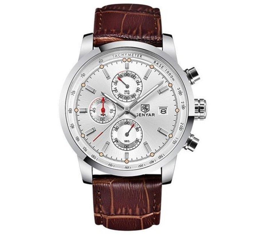 Herenhorloges LIGE Topmerk Lederen Chronograaf Waterdicht Sport Automatisch Datum Quartz Horloge Voor Heren