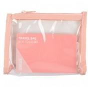 Sundaze toilettas 24,5 cm transparant/roze