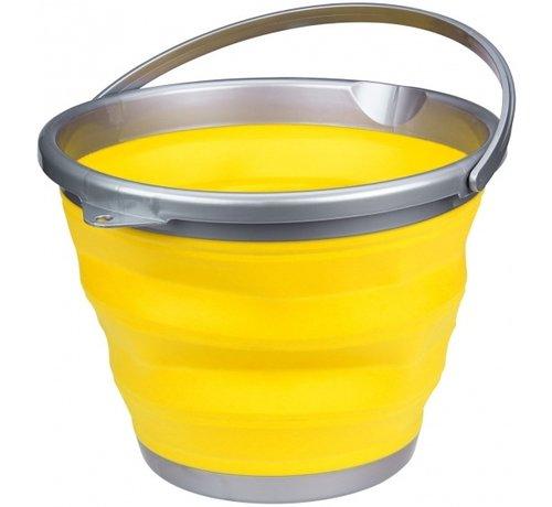 Abbey Camp emmer opvouwbaar 15 liter geel/grijs