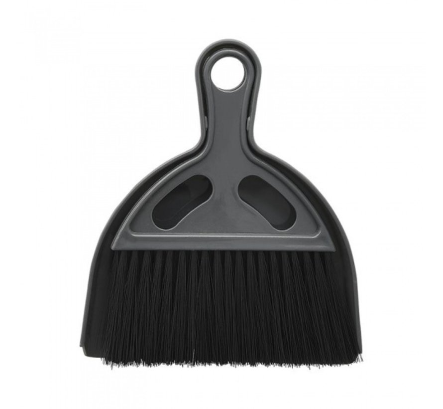mini-stoffer en blik 17 x 19,5 cm grijs/zwart 2-delig
